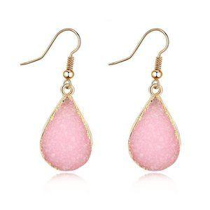 3/$20 Pink Druzy Stone Drop Earrings